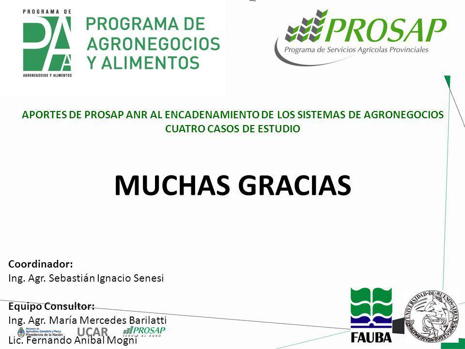 APORTES DE PROSAP ANR AL ENCADENAMIENTO DE LOS SISTEMAS DE AGRONEGOCIOS CUATRO CASOS DE ESTUDIO Coordinador: Ing.