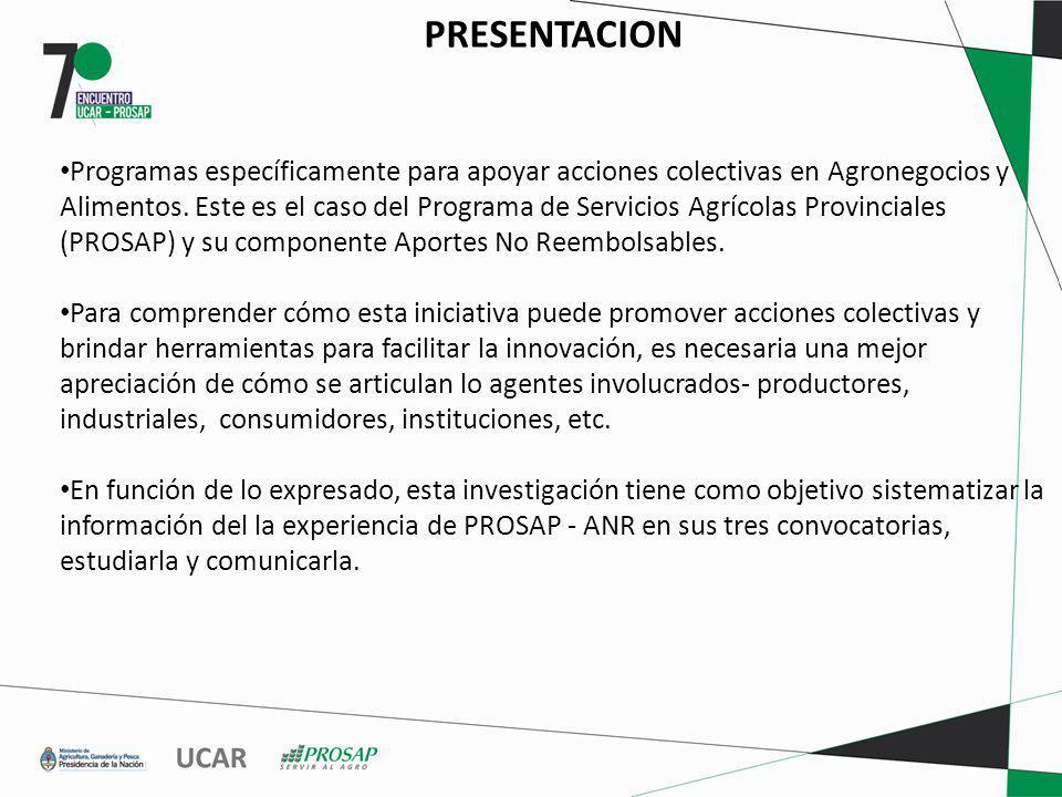 PRESENTACION Programas específicamente para apoyar acciones colectivas en Agronegocios y Alimentos.