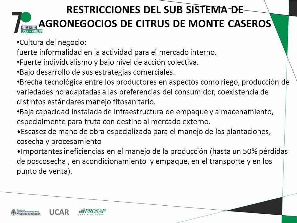 RESTRICCIONES DEL SUB SISTEMA DE AGRONEGOCIOS DE CITRUS DE MONTE CASEROS Cultura del negocio: fuerte informalidad en la actividad para el mercado interno.