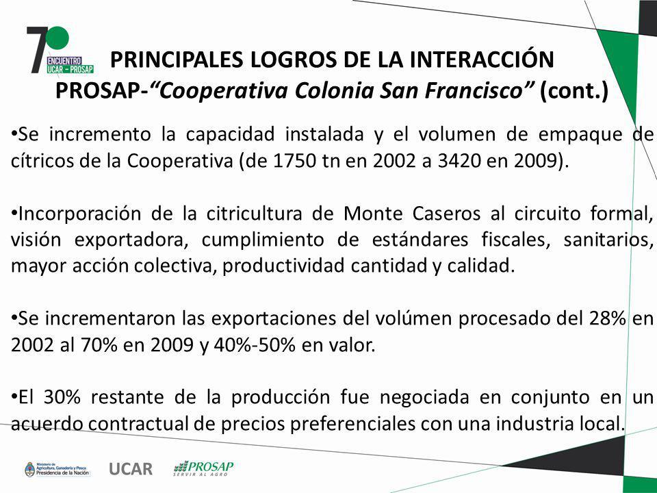 PRINCIPALES LOGROS DE LA INTERACCIÓN PROSAP-Cooperativa Colonia San Francisco (cont.) Se incremento la capacidad instalada y el volumen de empaque de