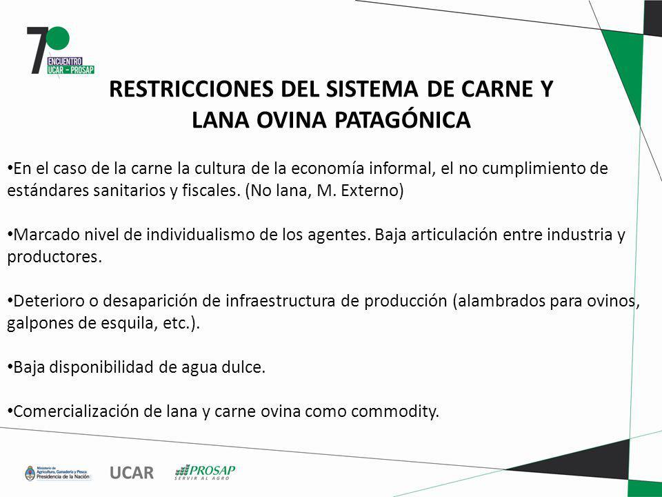 RESTRICCIONES DEL SISTEMA DE CARNE Y LANA OVINA PATAGÓNICA En el caso de la carne la cultura de la economía informal, el no cumplimiento de estándares