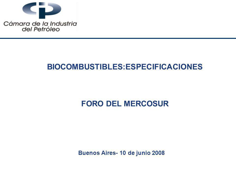 BIOCOMBUSTIBLES:ESPECIFICACIONES FORO DEL MERCOSUR Buenos Aires- 10 de junio 2008