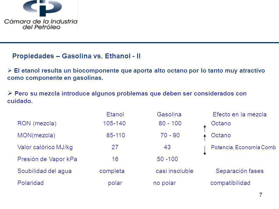 7 Etanol Gasolina Efecto en la mezcla RON (mezcla) 105-140 80 - 100 Octano MON(mezcla) 85-110 70 - 90 Octano Valor calórico MJ/kg 27 43 Potencia, Econ