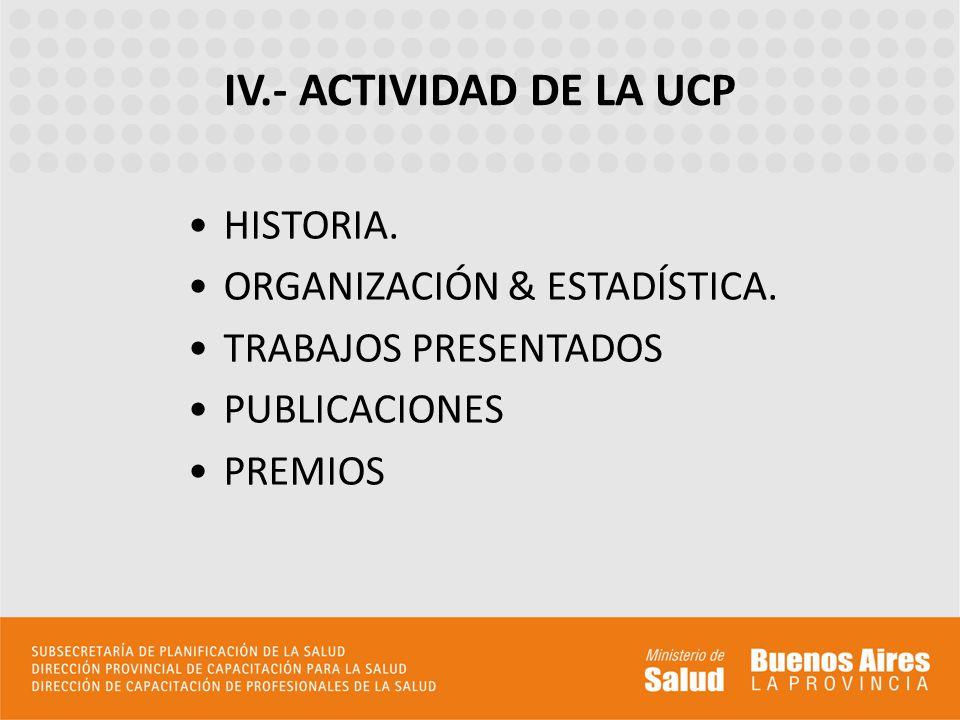 HISTORIA. ORGANIZACIÓN & ESTADÍSTICA. TRABAJOS PRESENTADOS PUBLICACIONES PREMIOS