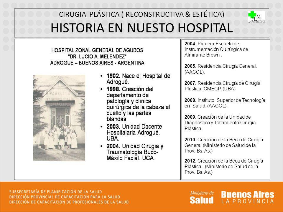 CIRUGIA PLÁSTICA ( RECONSTRUCTIVA & ESTÉTICA) HISTORIA EN NUESTO HOSPITAL 2004. Primera Escuela de Instrumentación Quirúrgica de Almirante Brown. 2005