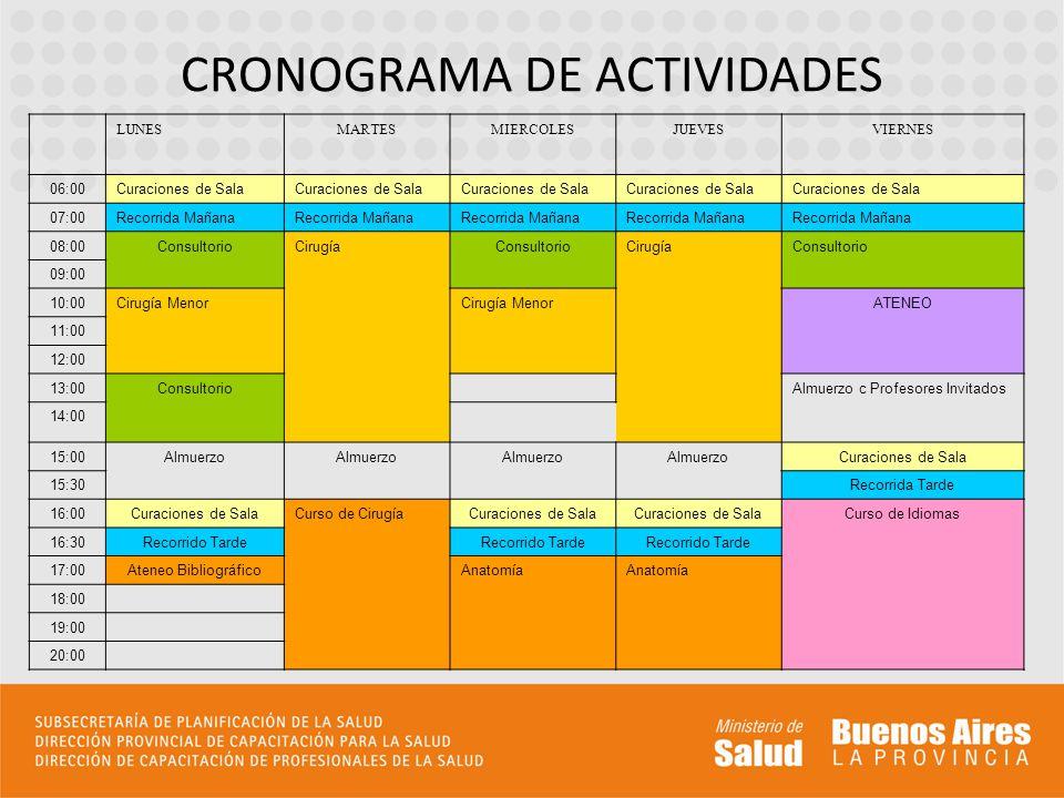 CRONOGRAMA DE ACTIVIDADES LUNESMARTESMIERCOLESJUEVESVIERNES 06:00Curaciones de Sala 07:00Recorrida Mañana 08:00ConsultorioCirugíaConsultorioCirugíaCon