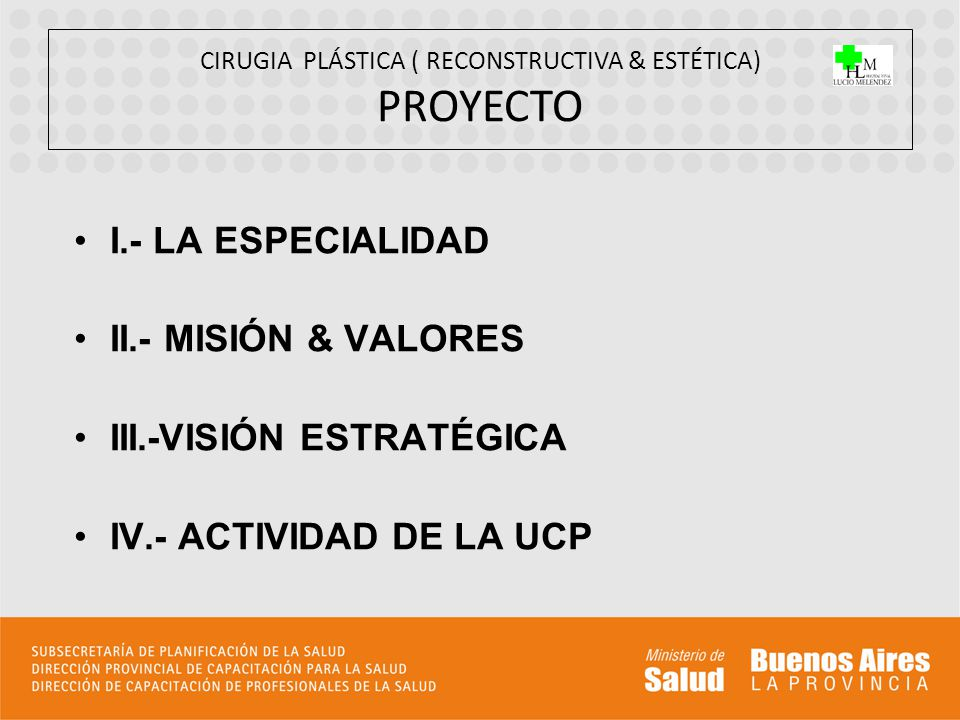 I.- LA ESPECIALIDAD II.- MISIÓN & VALORES III.-VISIÓN ESTRATÉGICA IV.- ACTIVIDAD DE LA UCP CIRUGIA PLÁSTICA ( RECONSTRUCTIVA & ESTÉTICA) PROYECTO