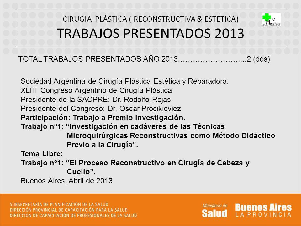CIRUGIA PLÁSTICA ( RECONSTRUCTIVA & ESTÉTICA) TRABAJOS PRESENTADOS 2013 TOTAL TRABAJOS PRESENTADOS AÑO 2013……………………....2 (dos) Sociedad Argentina de C