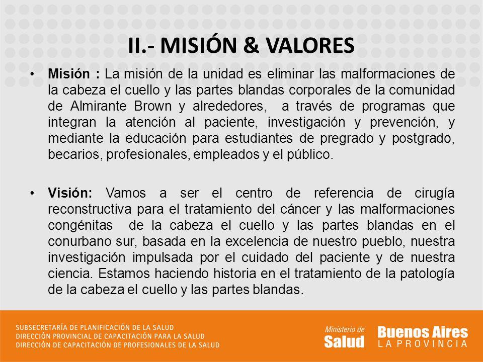 Misión : La misión de la unidad es eliminar las malformaciones de la cabeza el cuello y las partes blandas corporales de la comunidad de Almirante Bro