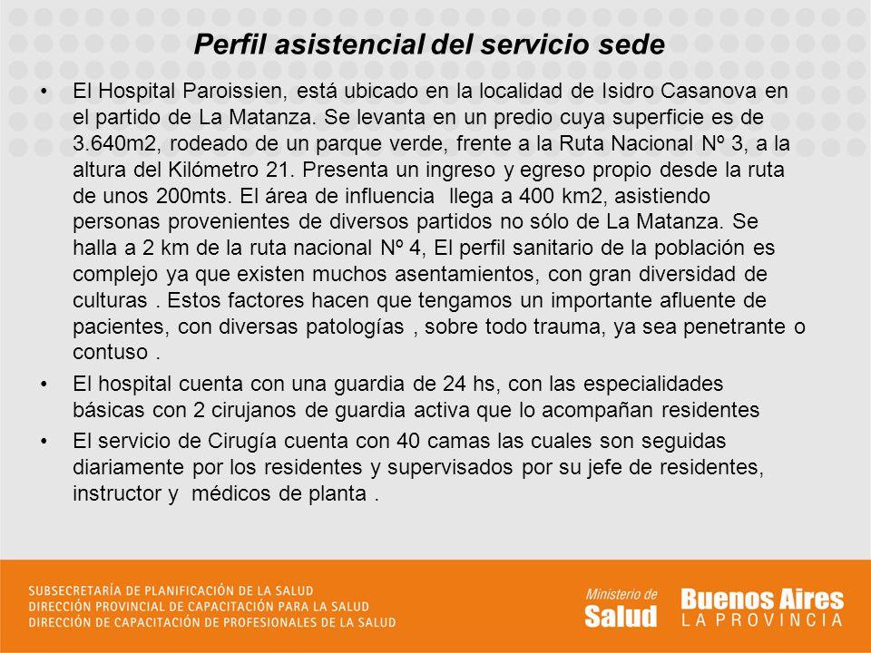 Perfil asistencial del servicio sede El Hospital Paroissien, está ubicado en la localidad de Isidro Casanova en el partido de La Matanza. Se levanta e