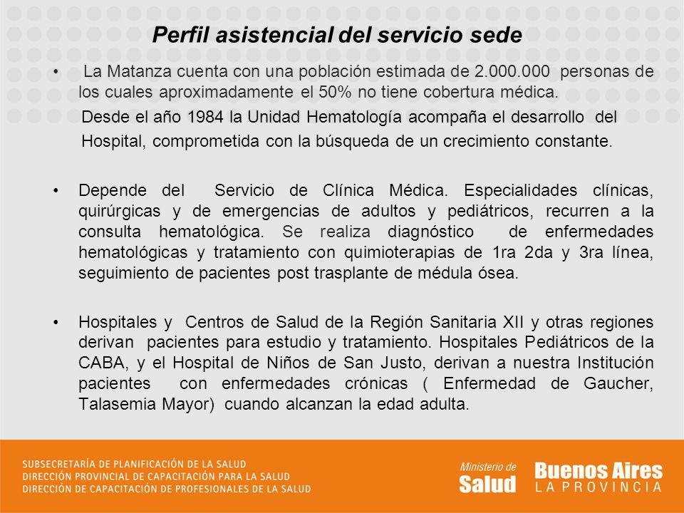 Perfil asistencial del servicio sede La Matanza cuenta con una población estimada de 2.000.000 personas de los cuales aproximadamente el 50% no tiene