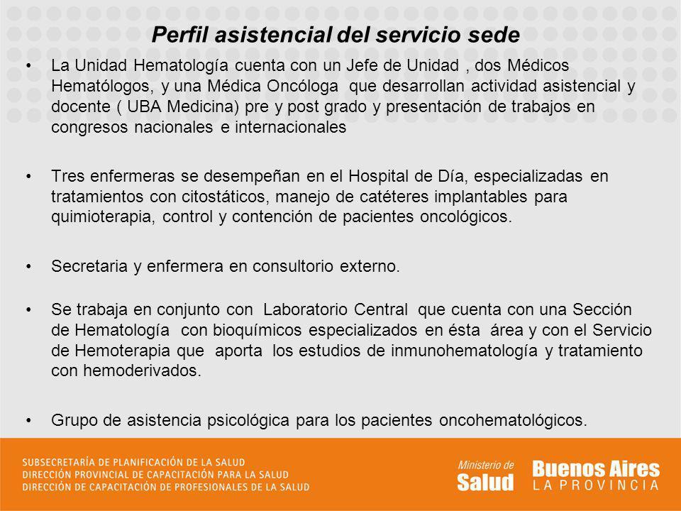 Perfil asistencial del servicio sede La Unidad Hematología cuenta con un Jefe de Unidad, dos Médicos Hematólogos, y una Médica Oncóloga que desarrolla