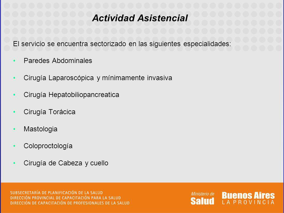 Actividad Asistencial El servicio se encuentra sectorizado en las siguientes especialidades: Paredes Abdominales Cirugía Laparoscópica y mínimamente i
