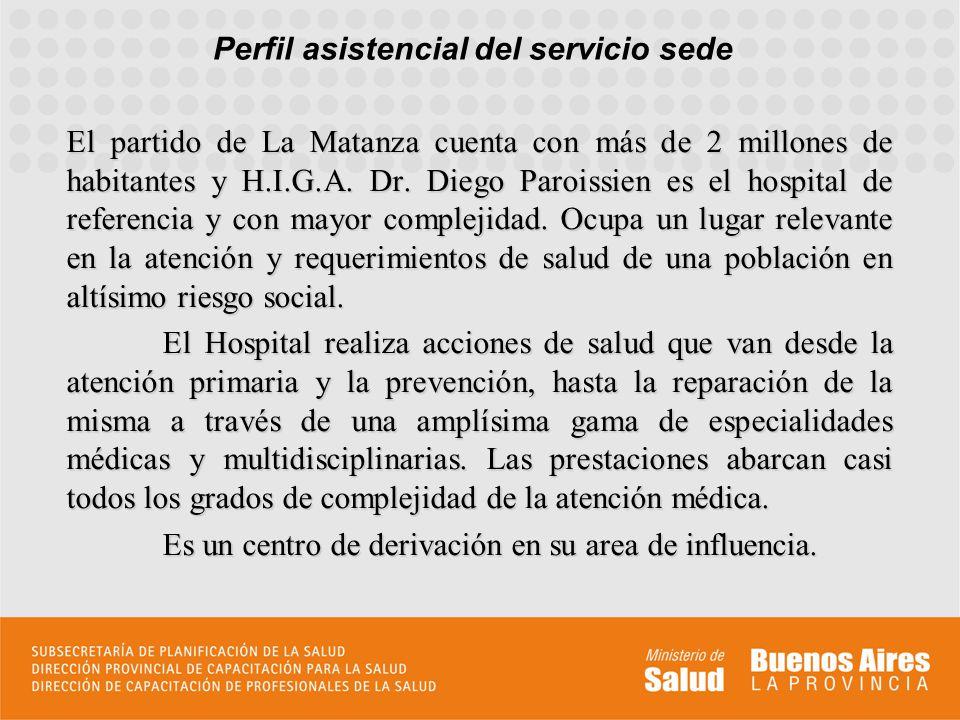Perfil asistencial del servicio sede El partido de La Matanza cuenta con más de 2 millones de habitantes y H.I.G.A. Dr. Diego Paroissien es el hospita