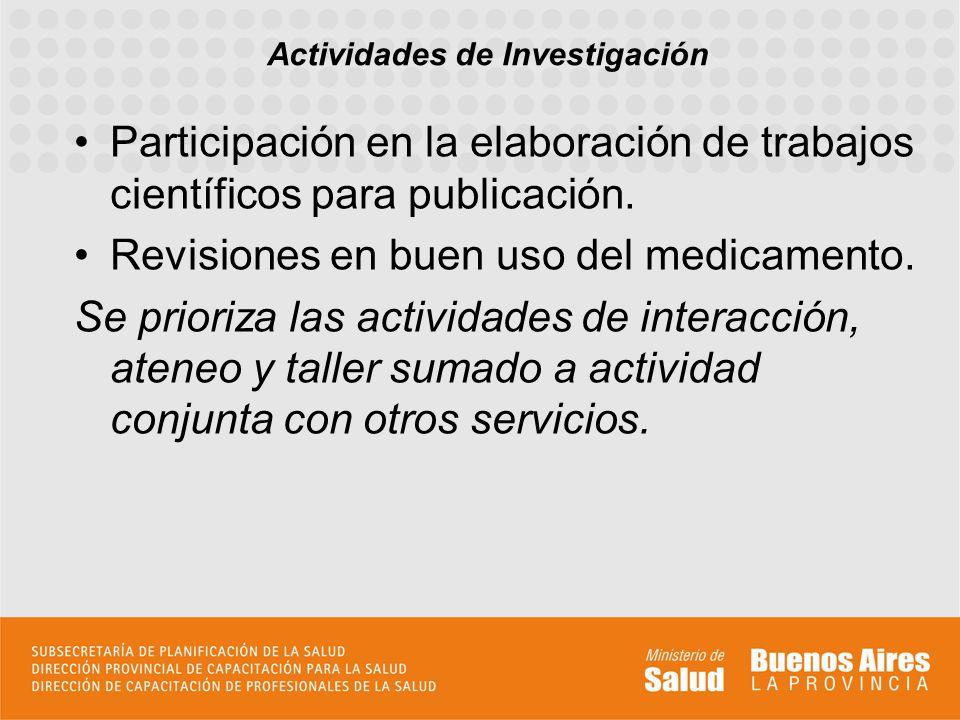 Participación en la elaboración de trabajos científicos para publicación. Revisiones en buen uso del medicamento. Se prioriza las actividades de inter