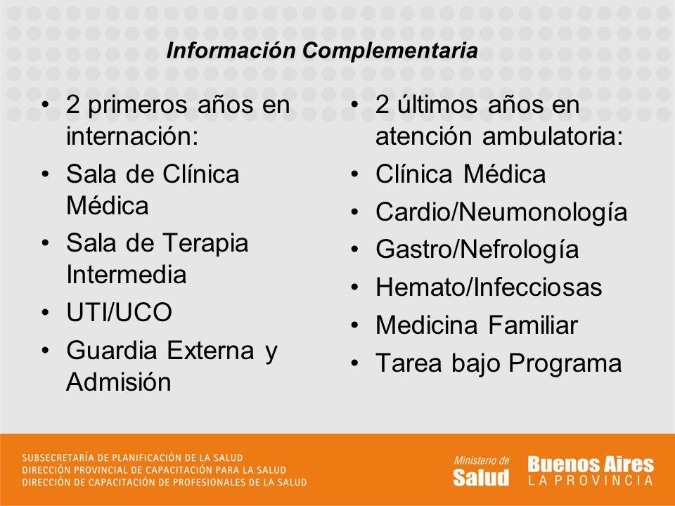 2 primeros años en internación: Sala de Clínica Médica Sala de Terapia Intermedia UTI/UCO Guardia Externa y Admisión 2 últimos años en atención ambula