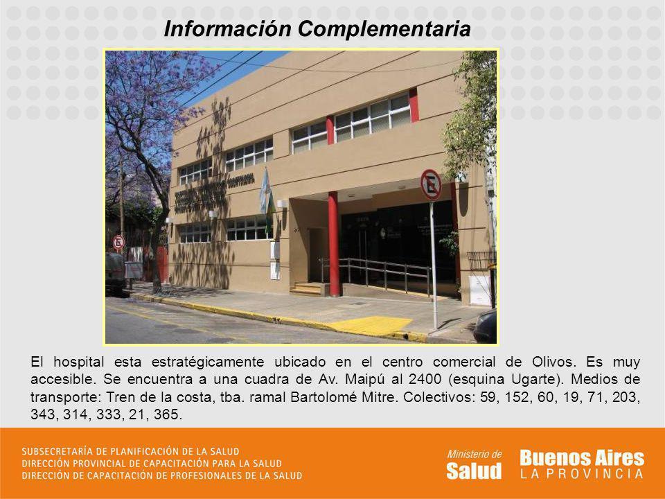 Información Complementaria El hospital esta estratégicamente ubicado en el centro comercial de Olivos. Es muy accesible. Se encuentra a una cuadra de