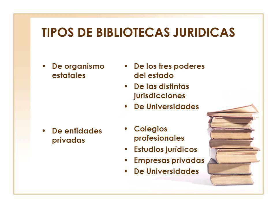 TIPOS DE BIBLIOTECAS JURIDICAS De organismo estatales De entidades privadas De los tres poderes del estado De las distintas jurisdicciones De Universi