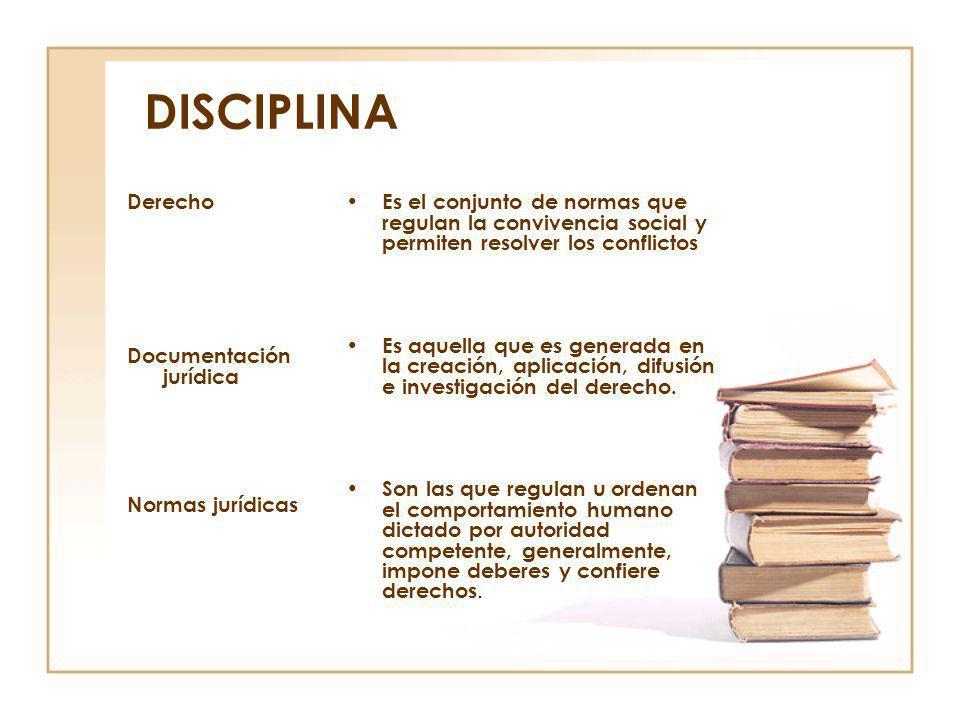DISCIPLINA Derecho Documentación jurídica Normas jurídicas Es el conjunto de normas que regulan la convivencia social y permiten resolver los conflict