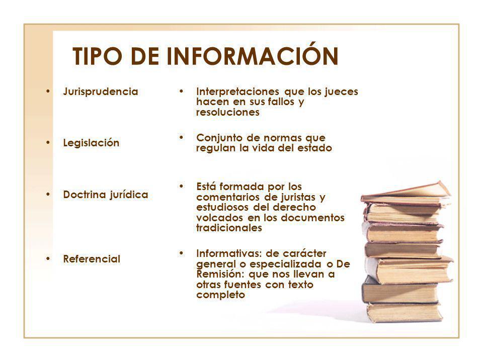 TIPO DE INFORMACIÓN Jurisprudencia Legislación Doctrina jurídica Referencial Interpretaciones que los jueces hacen en sus fallos y resoluciones Conjun