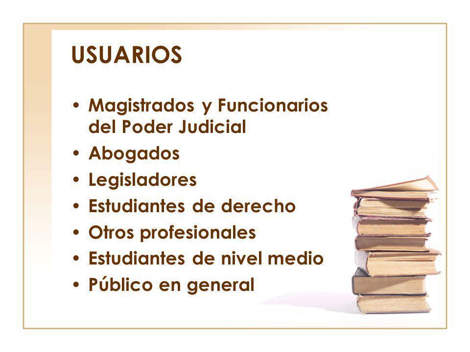USUARIOS Magistrados y Funcionarios del Poder Judicial Abogados Legisladores Estudiantes de derecho Otros profesionales Estudiantes de nivel medio Púb