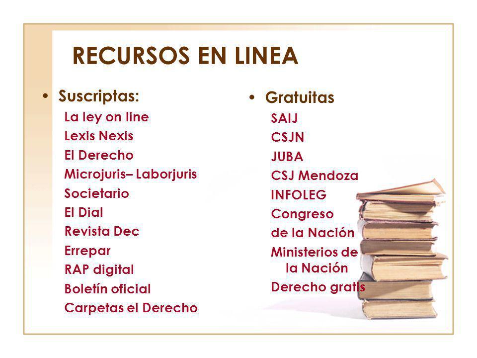 RECURSOS EN LINEA Suscriptas: La ley on line Lexis Nexis El Derecho Microjuris– Laborjuris Societario El Dial Revista Dec Errepar RAP digital Boletín