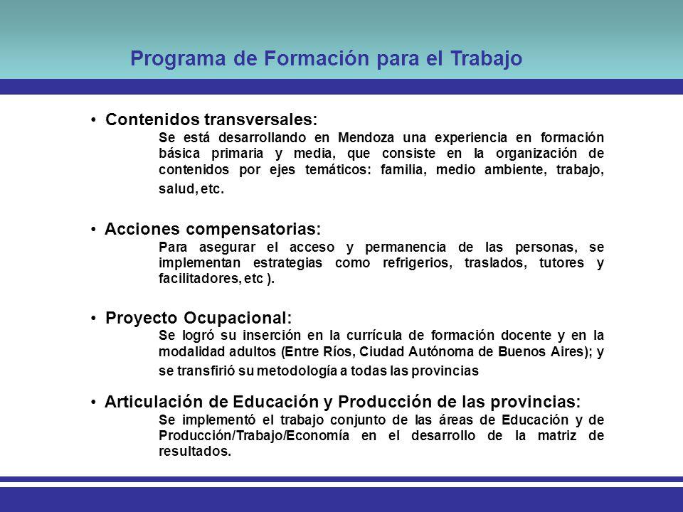 Programa de Formación para el Trabajo Contenidos transversales: Se está desarrollando en Mendoza una experiencia en formación básica primaria y media, que consiste en la organización de contenidos por ejes temáticos: familia, medio ambiente, trabajo, salud, etc.
