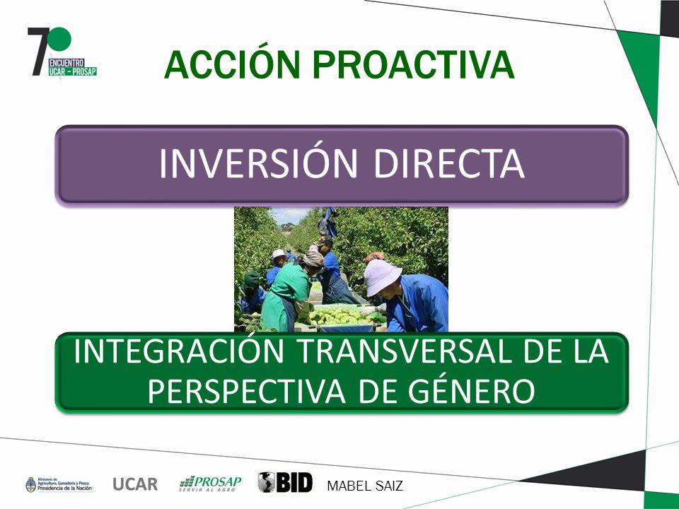 MABEL SAIZ ACCIÓN PROACTIVA INVERSIÓN DIRECTA INTEGRACIÓN TRANSVERSAL DE LA PERSPECTIVA DE GÉNERO