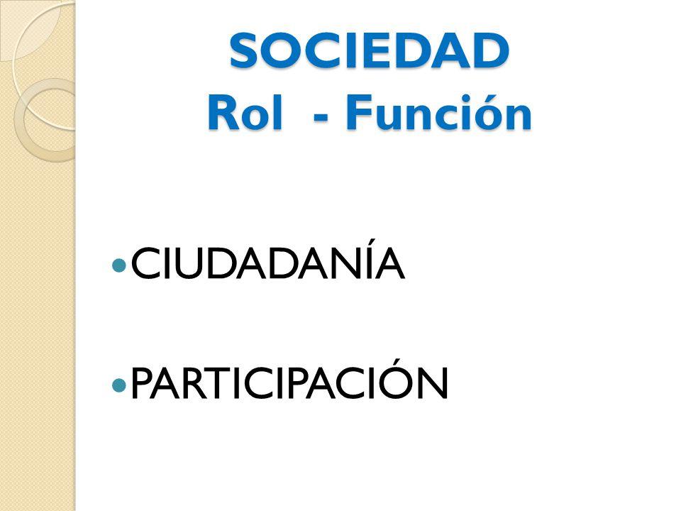 SOCIEDAD Rol - Función CIUDADANÍA PARTICIPACIÓN