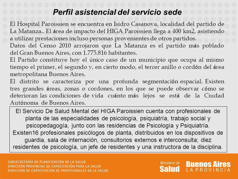 Perfil asistencial del servicio sede El Hospital Paroissien se encuentra en Isidro Casanova, localidad del partido de La Matanza.. El á rea de impacto