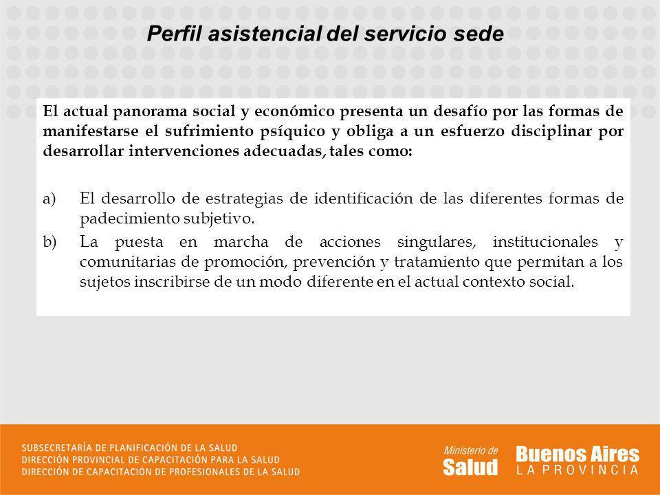 Perfil asistencial del servicio sede El actual panorama social y económico presenta un desafío por las formas de manifestarse el sufrimiento psíquico