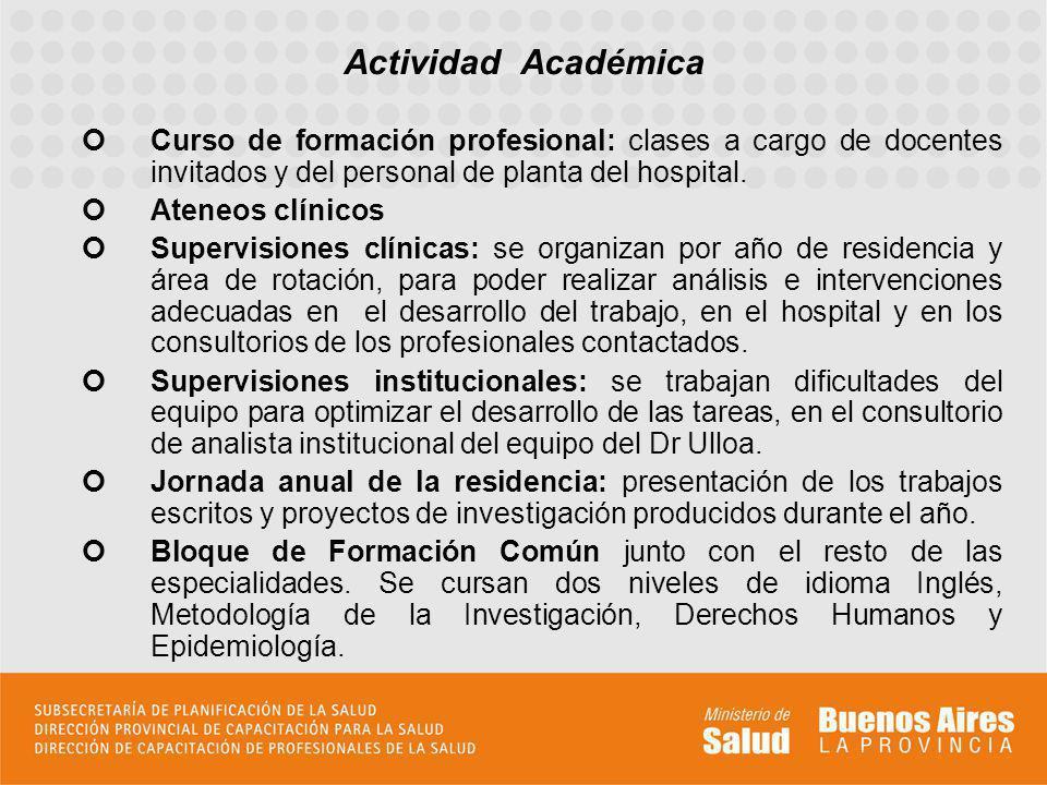 Curso de formación profesional: clases a cargo de docentes invitados y del personal de planta del hospital. Ateneos clínicos Supervisiones clínicas: s
