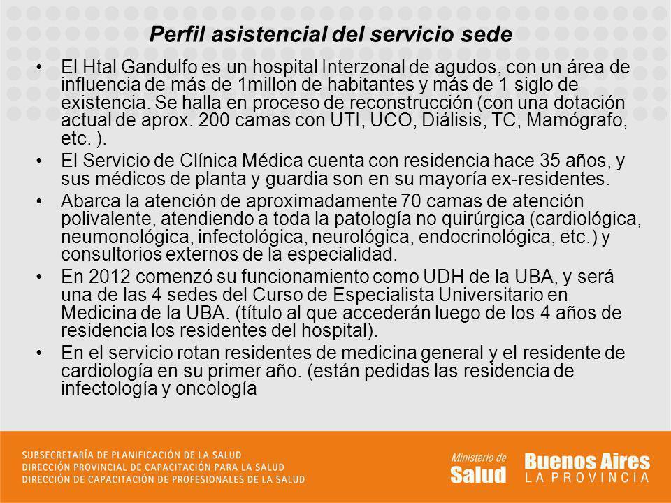 Perfil asistencial del servicio sede El Htal Gandulfo es un hospital Interzonal de agudos, con un área de influencia de más de 1millon de habitantes y más de 1 siglo de existencia.