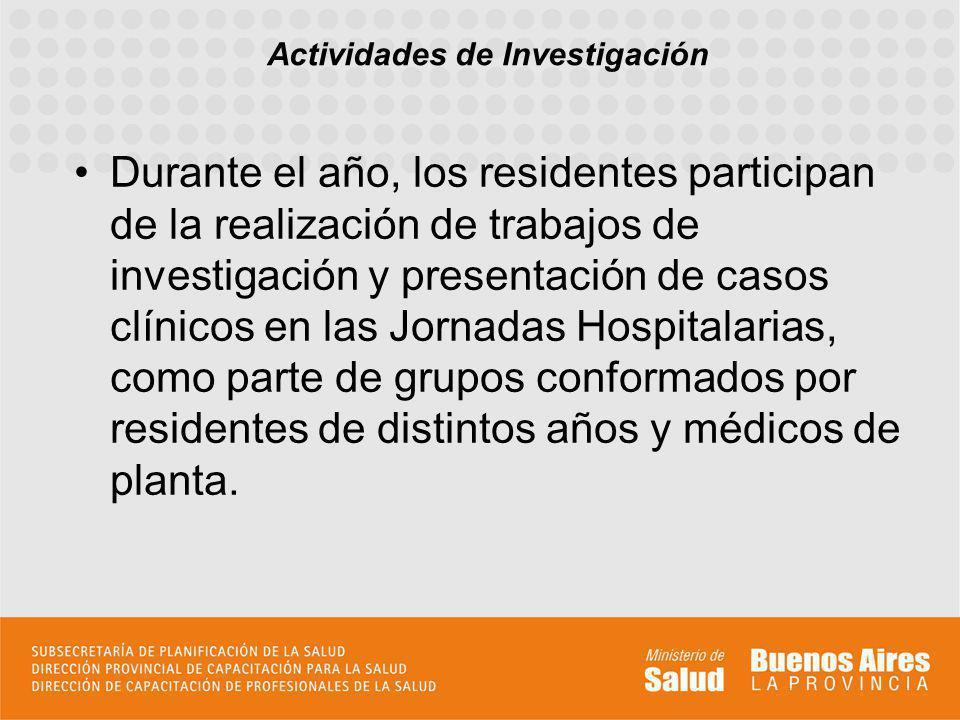 Durante el año, los residentes participan de la realización de trabajos de investigación y presentación de casos clínicos en las Jornadas Hospitalarias, como parte de grupos conformados por residentes de distintos años y médicos de planta.