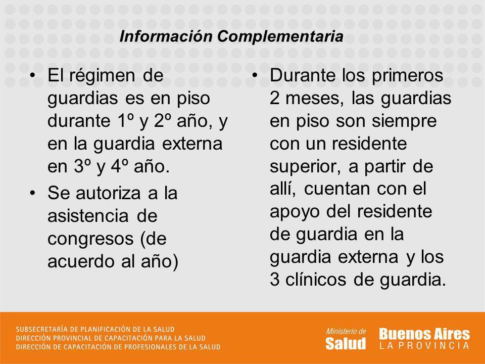 El régimen de guardias es en piso durante 1º y 2º año, y en la guardia externa en 3º y 4º año.