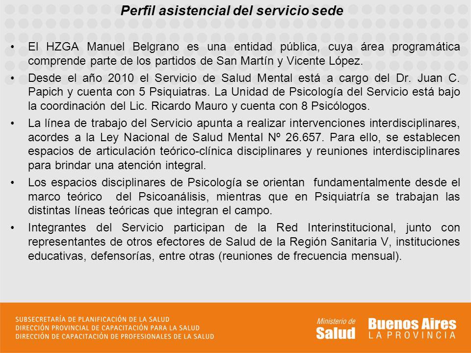 Perfil asistencial del servicio sede El HZGA Manuel Belgrano es una entidad pública, cuya área programática comprende parte de los partidos de San Mar