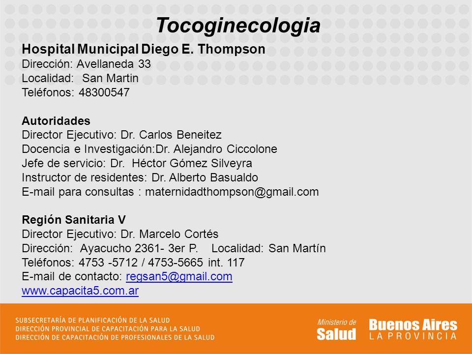 Tocoginecologia Hospital Municipal Diego E.