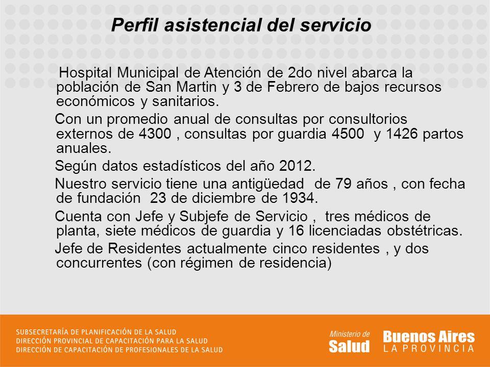 Perfil asistencial del servicio Hospital Municipal de Atención de 2do nivel abarca la población de San Martin y 3 de Febrero de bajos recursos económicos y sanitarios.