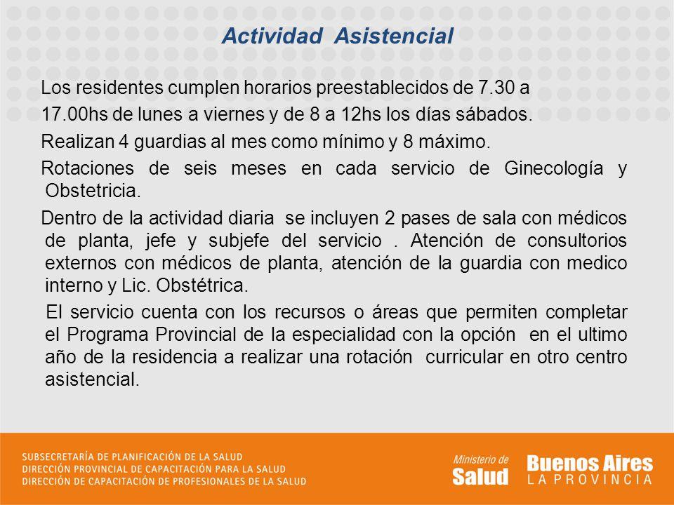 Los residentes cumplen horarios preestablecidos de 7.30 a 17.00hs de lunes a viernes y de 8 a 12hs los días sábados.