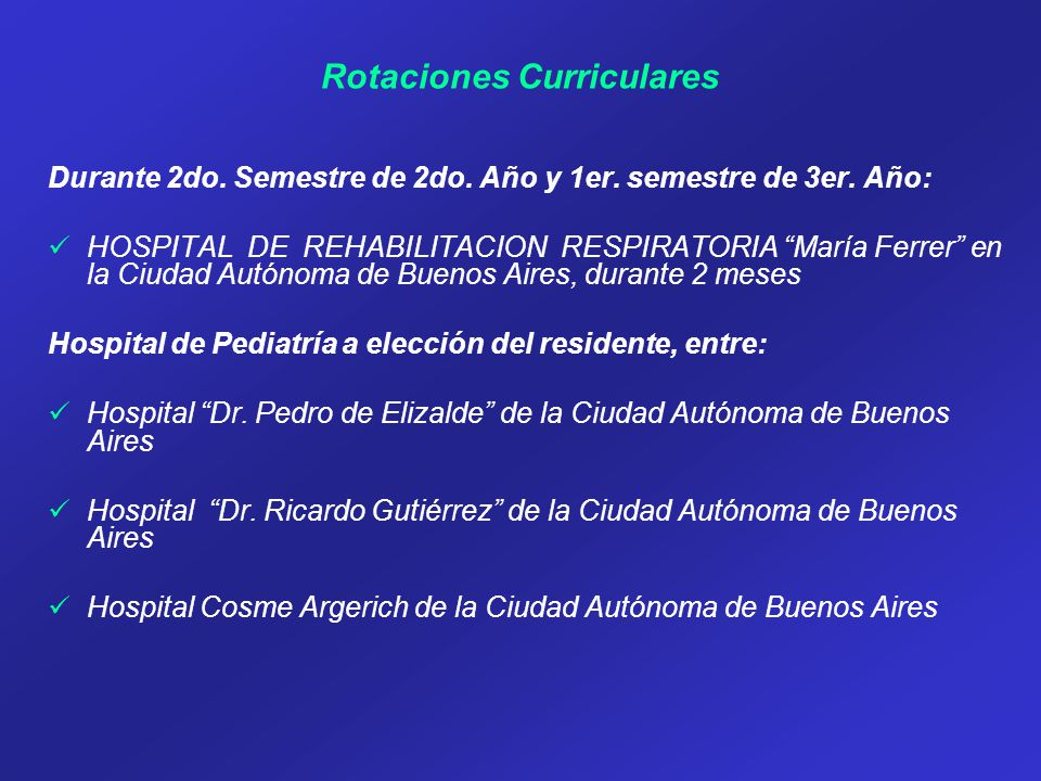 Rotaciones Curriculares Durante 2do. Semestre de 2do.