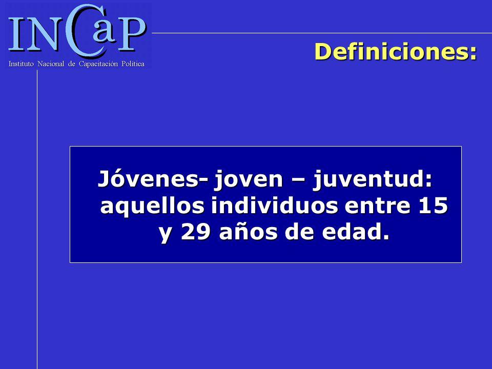 Definiciones: Jóvenes- joven – juventud: aquellos individuos entre 15 y 29 años de edad.