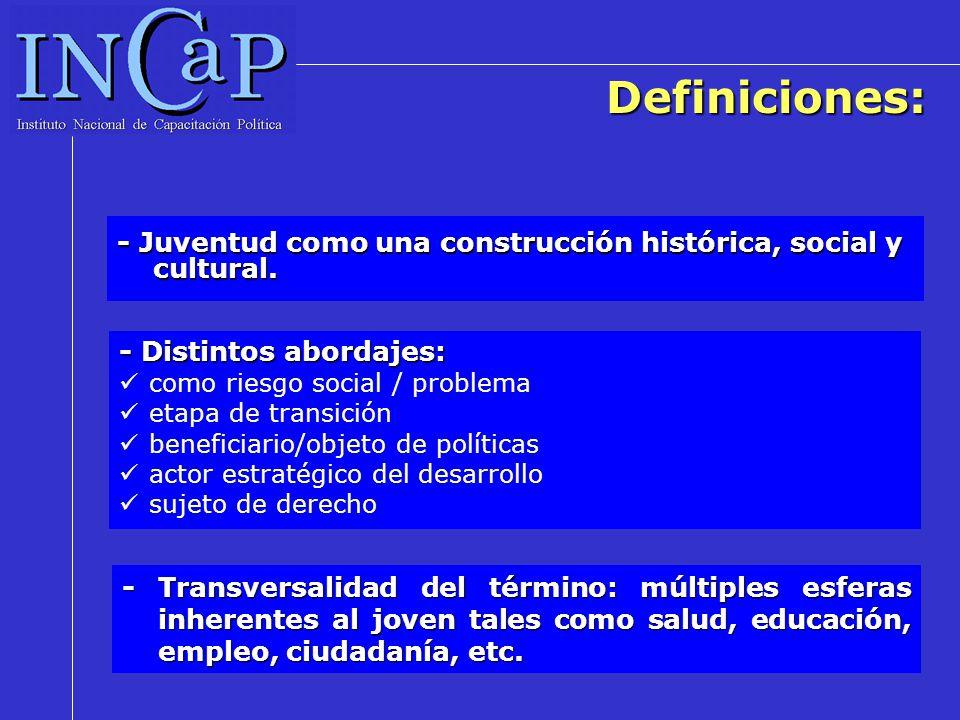 Definiciones: - Juventud como una construcción histórica, social y cultural. - Transversalidad del término: múltiples esferas inherentes al joven tale
