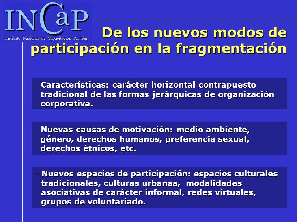 De los nuevos modos de participación en la fragmentación Características: carácter horizontal contrapuesto tradicional de las formas jerárquicas de organización corporativa.