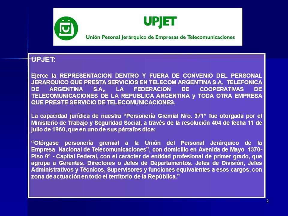 2 UPJET: Ejerce la REPRESENTACION DENTRO Y FUERA DE CONVENIO DEL PERSONAL JERARQUICO QUE PRESTA SERVICIOS EN TELECOM ARGENTINA S.A, TELEFONICA DE ARGENTINA S.A,, LA FEDERACION DE COOPERATIVAS DE TELECOMUNICACIONES DE LA REPUBLICA ARGENTINA y TODA OTRA EMPRESA QUE PRESTE SERVICIO DE TELECOMUNICACIONES.