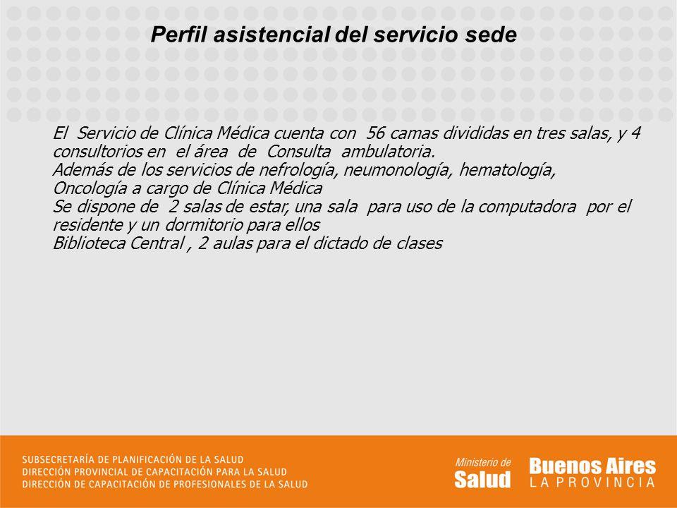 Perfil asistencial del servicio sede En una síntesis deberán consignarse los datos que se consideren importantes para el postulante. El perfil asisten