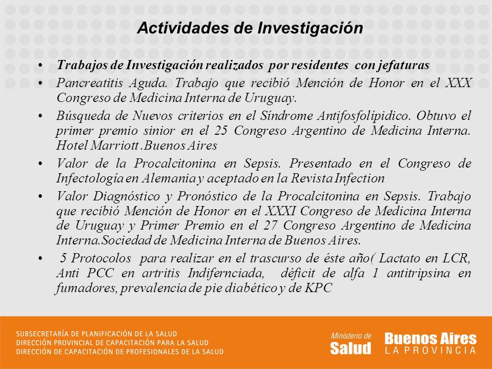 Trabajos de Investigación realizados por residentes con jefaturas Pancreatitis Aguda. Trabajo que recibió Mención de Honor en el XXX Congreso de Medic