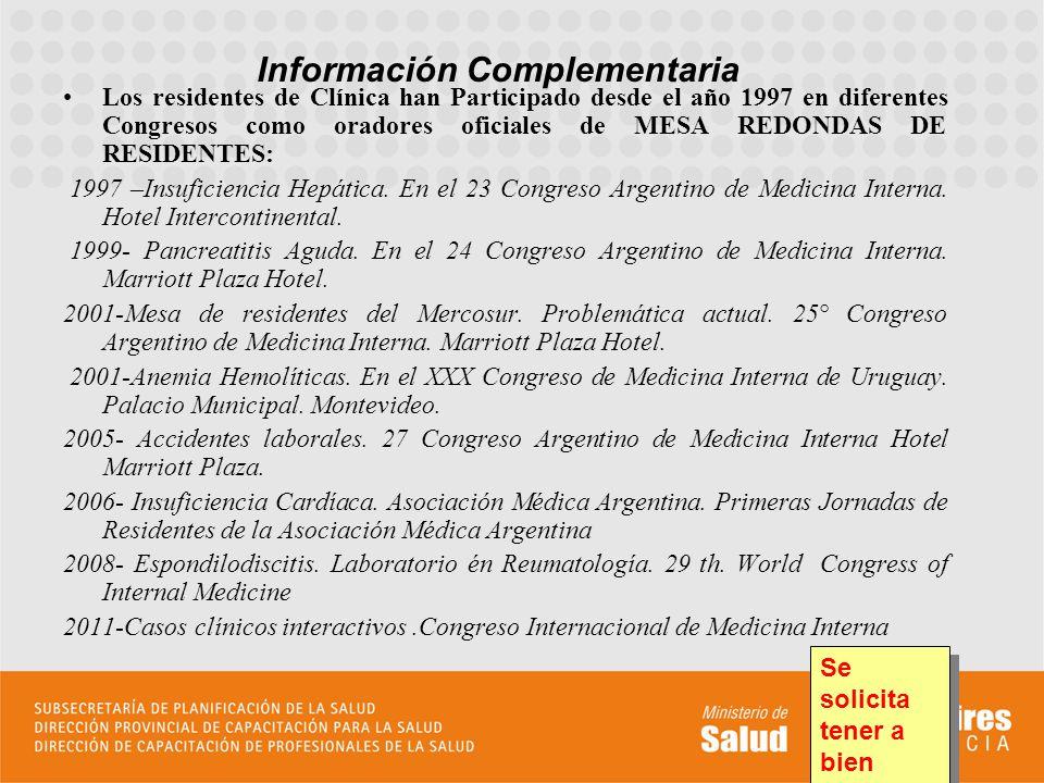 Los residentes de Clínica han Participado desde el año 1997 en diferentes Congresos como oradores oficiales de MESA REDONDAS DE RESIDENTES: 1997 –Insu