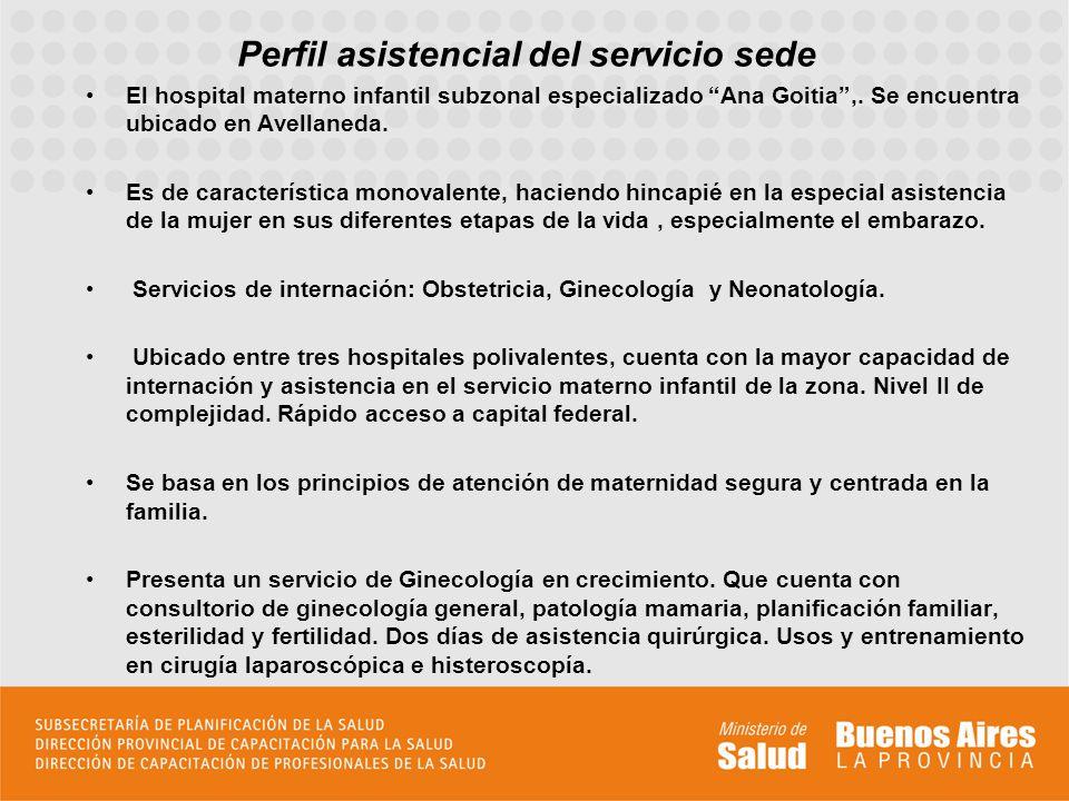 Perfil asistencial del servicio sede El hospital materno infantil subzonal especializado Ana Goitia,. Se encuentra ubicado en Avellaneda. Es de caract