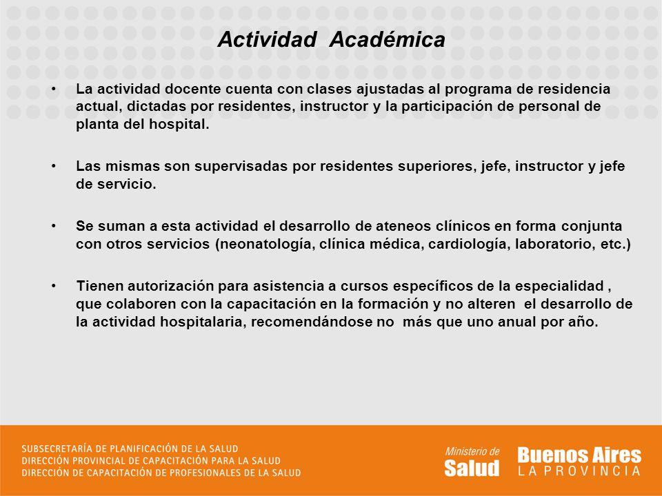 La actividad docente cuenta con clases ajustadas al programa de residencia actual, dictadas por residentes, instructor y la participación de personal