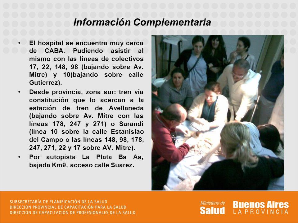 El hospital se encuentra muy cerca de CABA. Pudiendo asistir al mismo con las lineas de colectivos 17, 22, 148, 98 (bajando sobre Av. Mitre) y 10(baja